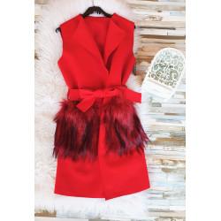 chaleco rojo  bolsillo de pelo